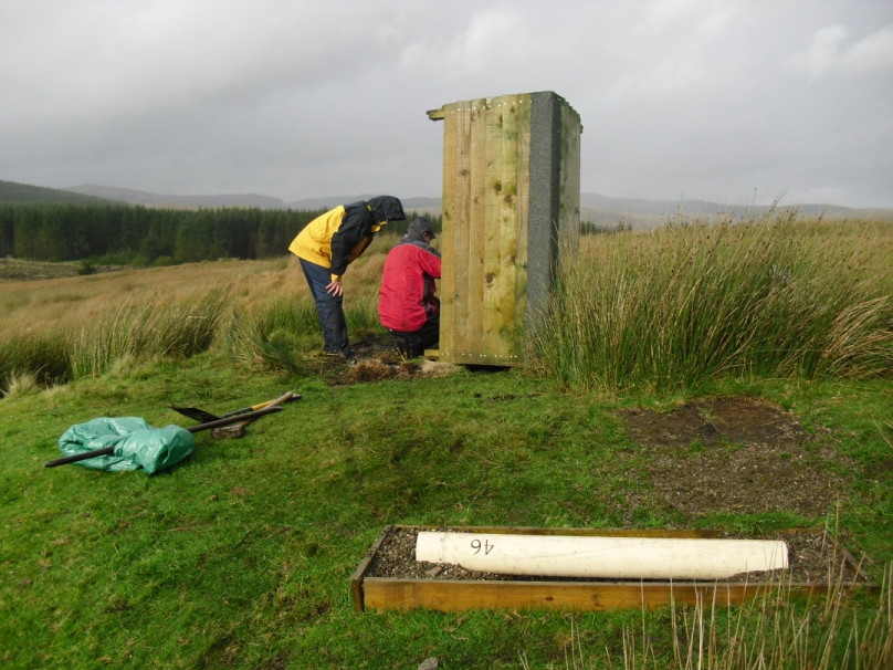 Figure 2: The induction coil is placed on a levelled bed of gravel and linked to a break-out box and digitiser, which Simon Flower and Ted Harris are working on in the background.