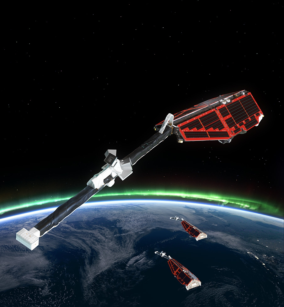 Artist's impression of the three Swarm satellite orbital configuration. Two fly initially at an altitude of 450 km while the third flies at 530 km. Each satellite consist of a solar-panel covered body from which a four-metre boom with the magnetic field measuring instruments extends out the rear. Copyright: ESA/AOES Medialab.