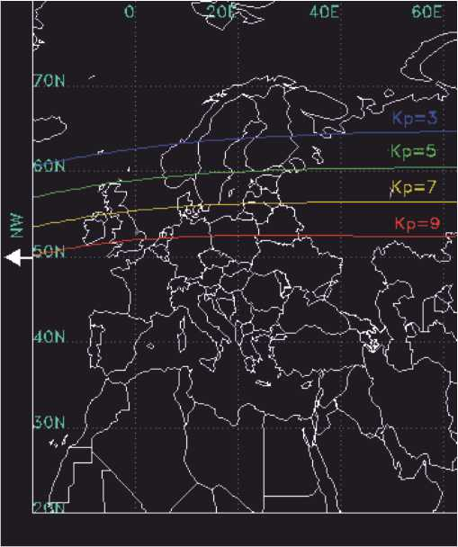 Model showing likely locations that will see auroraas the auroral oval moves south as activity increases. Based on geomagnetic activity level Kp. Image from