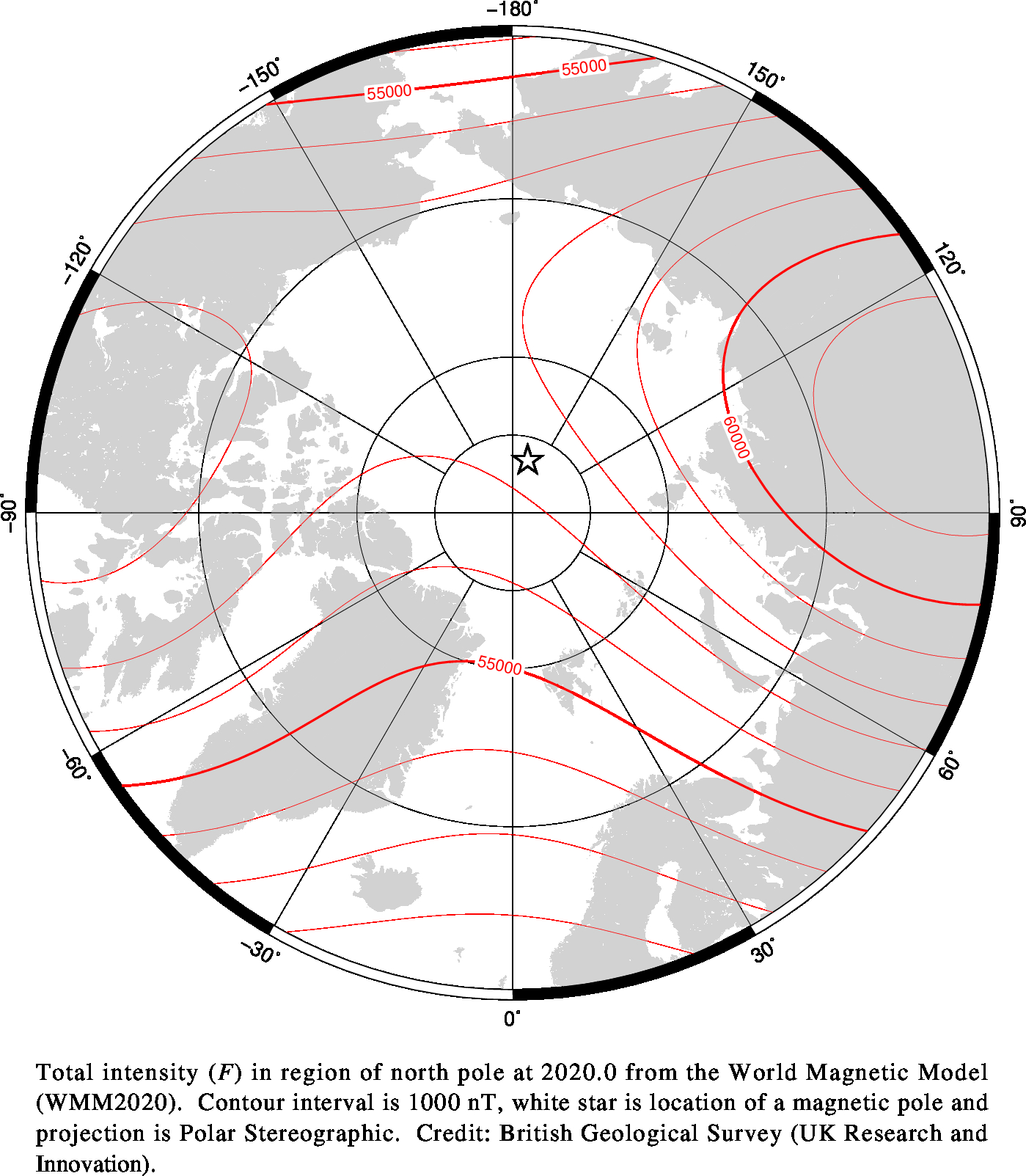 Magnetic chart showing Total Intensity