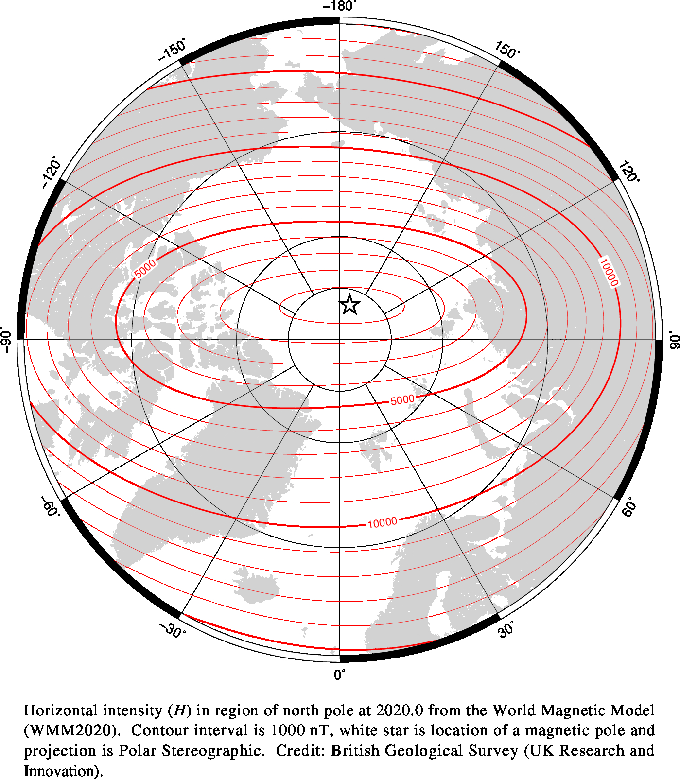 Magnetic chart showing Horizontal Intensity