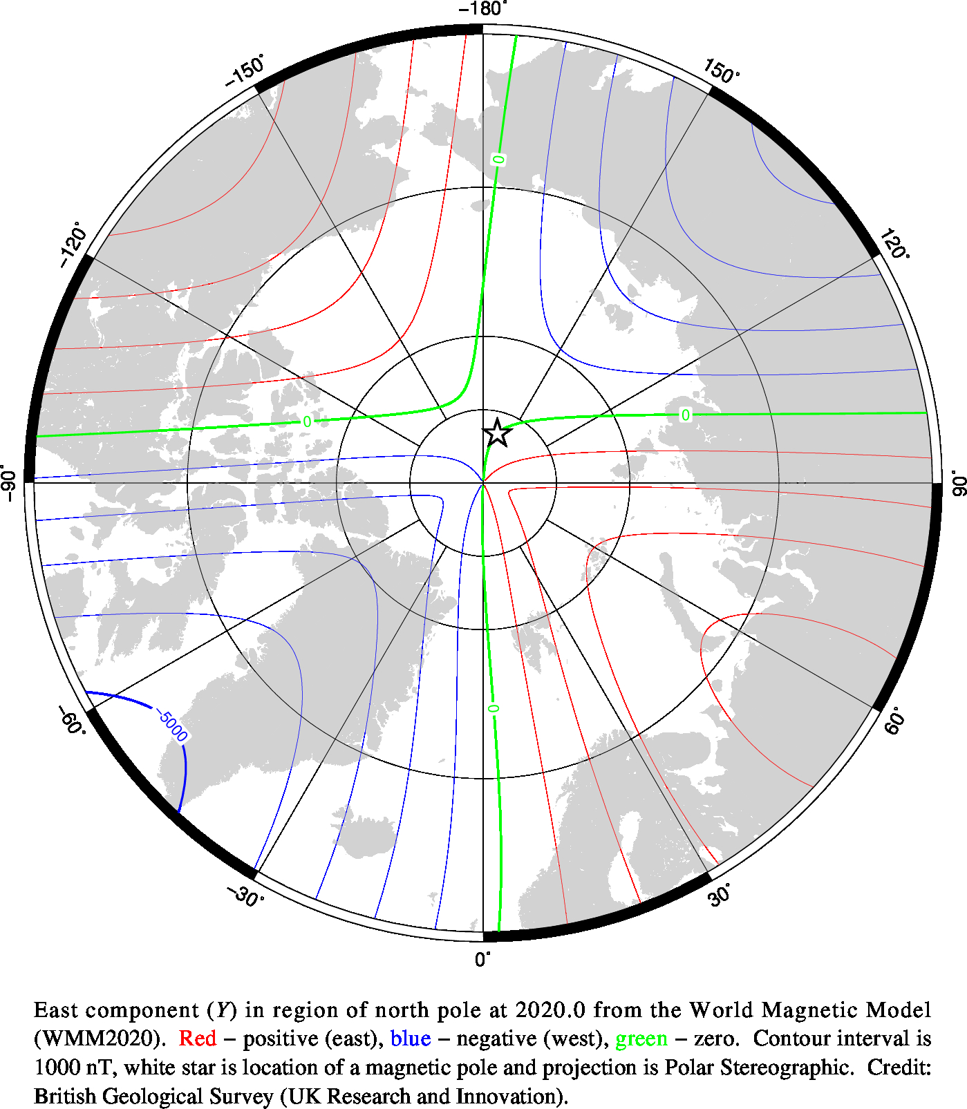 Magnetic chart showing East Component