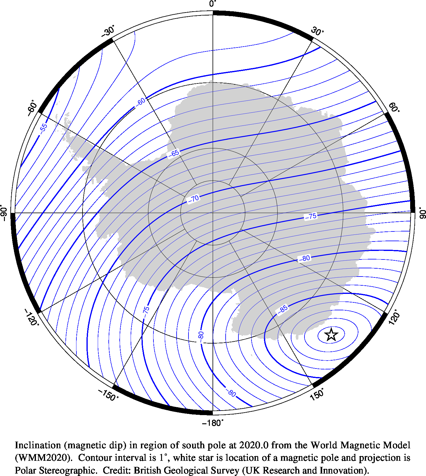 Magnetic chart showing Inclination