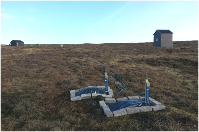 Figure 1: Installation of the measurement electrodes at Lerwick observatory in the Shetland Islands.