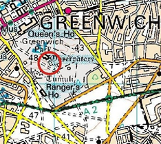 Map of Greenwich Observatory Location