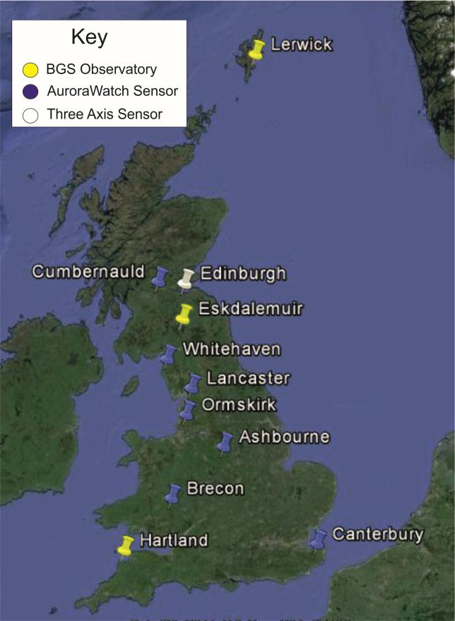 Figure 1: Location of AuroraWatch magnetometers (blue), BGS observatories (yellow) and Edinburgh.