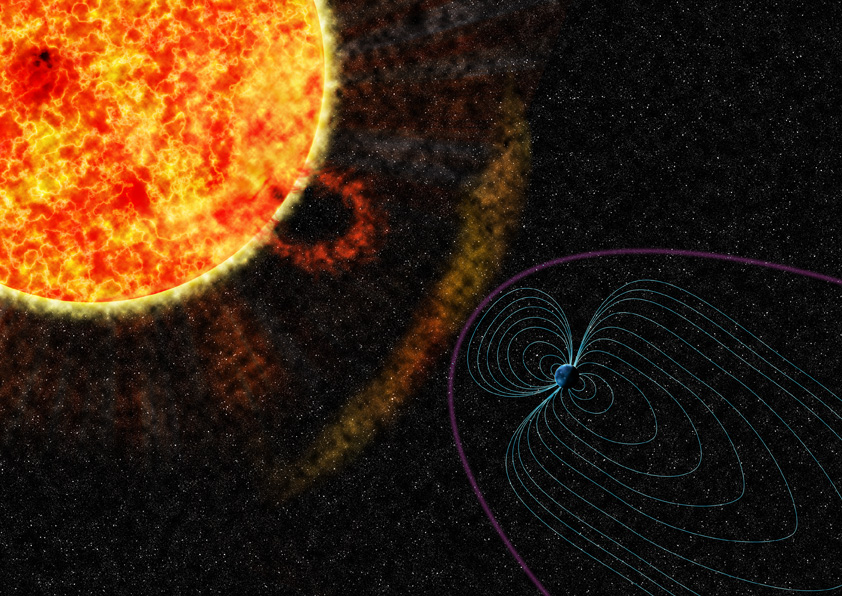 Illustration showing the influence of the Sun on the Earth's magnetic field. Image: BGS (NERC)