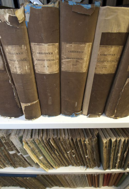 Photo showing a selection of historical observatory yearbooks.
