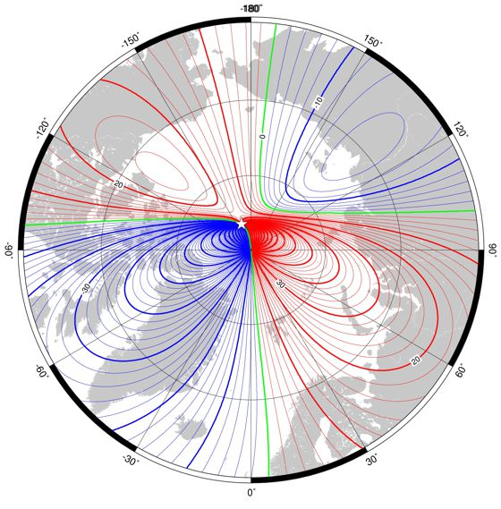 Declination (magnetic variation) in region of north pole at 2010.0 from the World Magnetic Model.